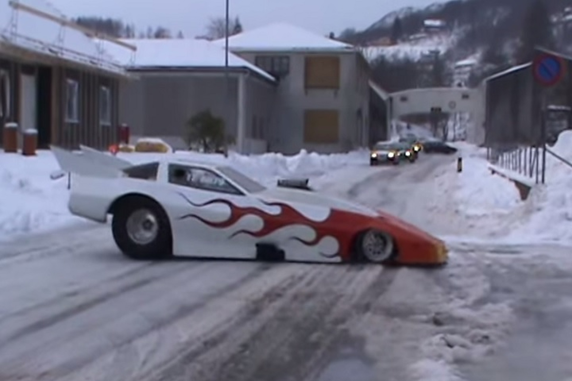 See Why Funny Cars And Snow Do Not Go Together