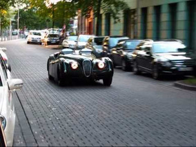 Jaguar XK120 OTS (CLASSIC RACER, HUGE ENGINE SOUNDS!) @ City Centre Düsseldorf