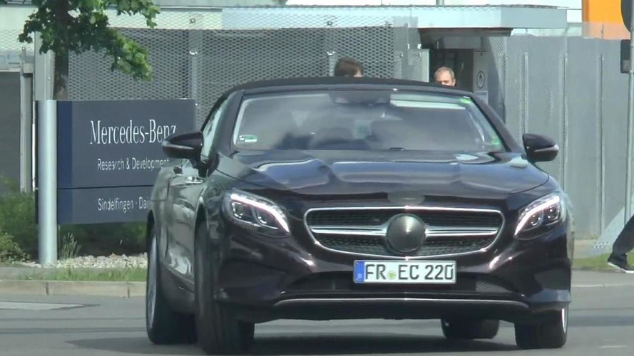 Mercedes-Benz S-Class Cabriolet spied in action with undisguised front fascia [video]