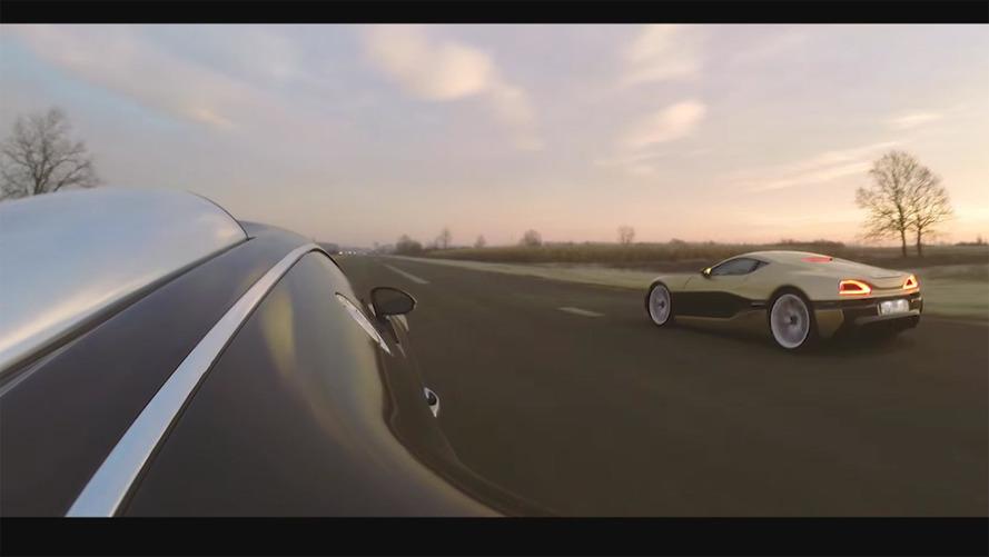 Rimac Concept One drag races Bugatti Veyron to a close finish