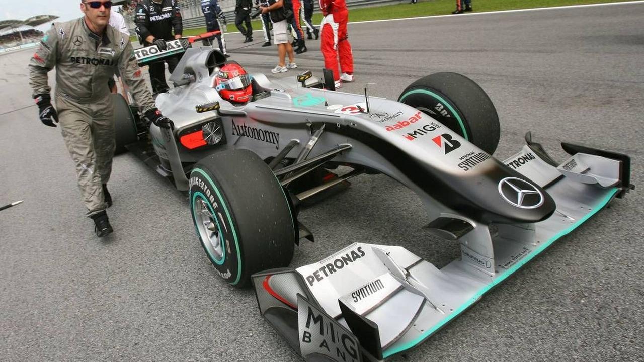 Michael Schumacher (GER), Mercedes GP, Malaysian Grand Prix, Sunday Pre-Race Grid, 04.04.2010 Kuala Lumpur, Malaysia