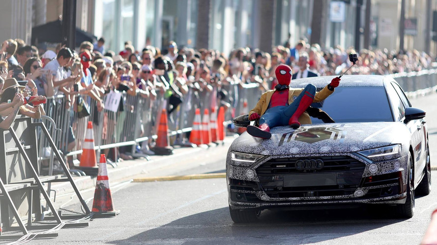 Spider-Man Arrives At Homecoming Premiere In The New Audi A8