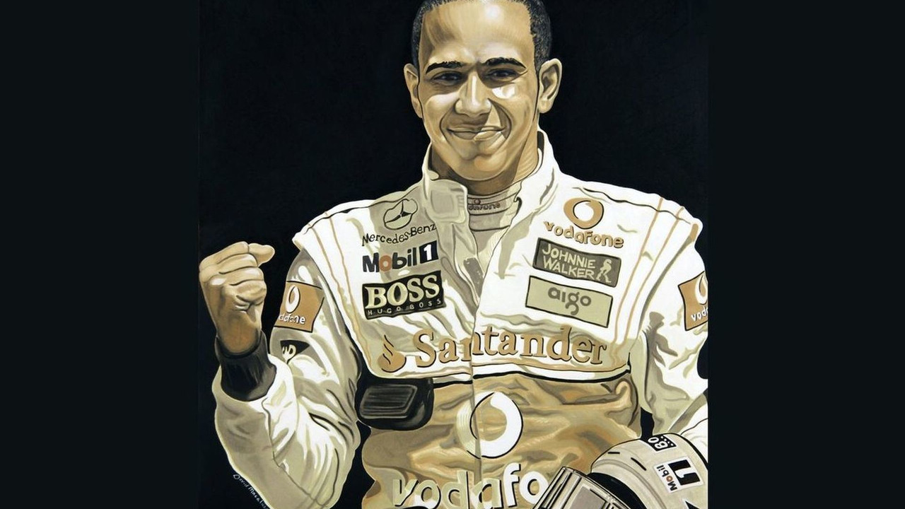 Lewis Hamilton Portrait created with Mobile 1 oil from McLaren MP4-24