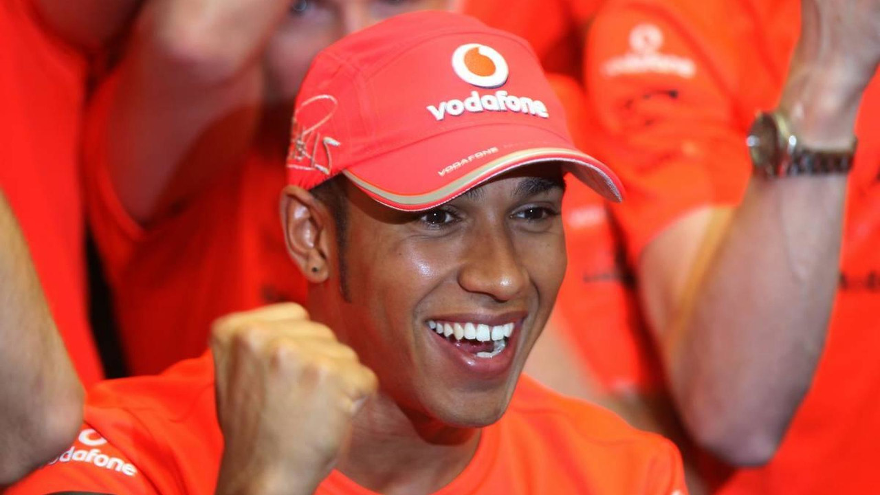 Lewis Hamilton celebrates winning 2010 Belgium Grand prix