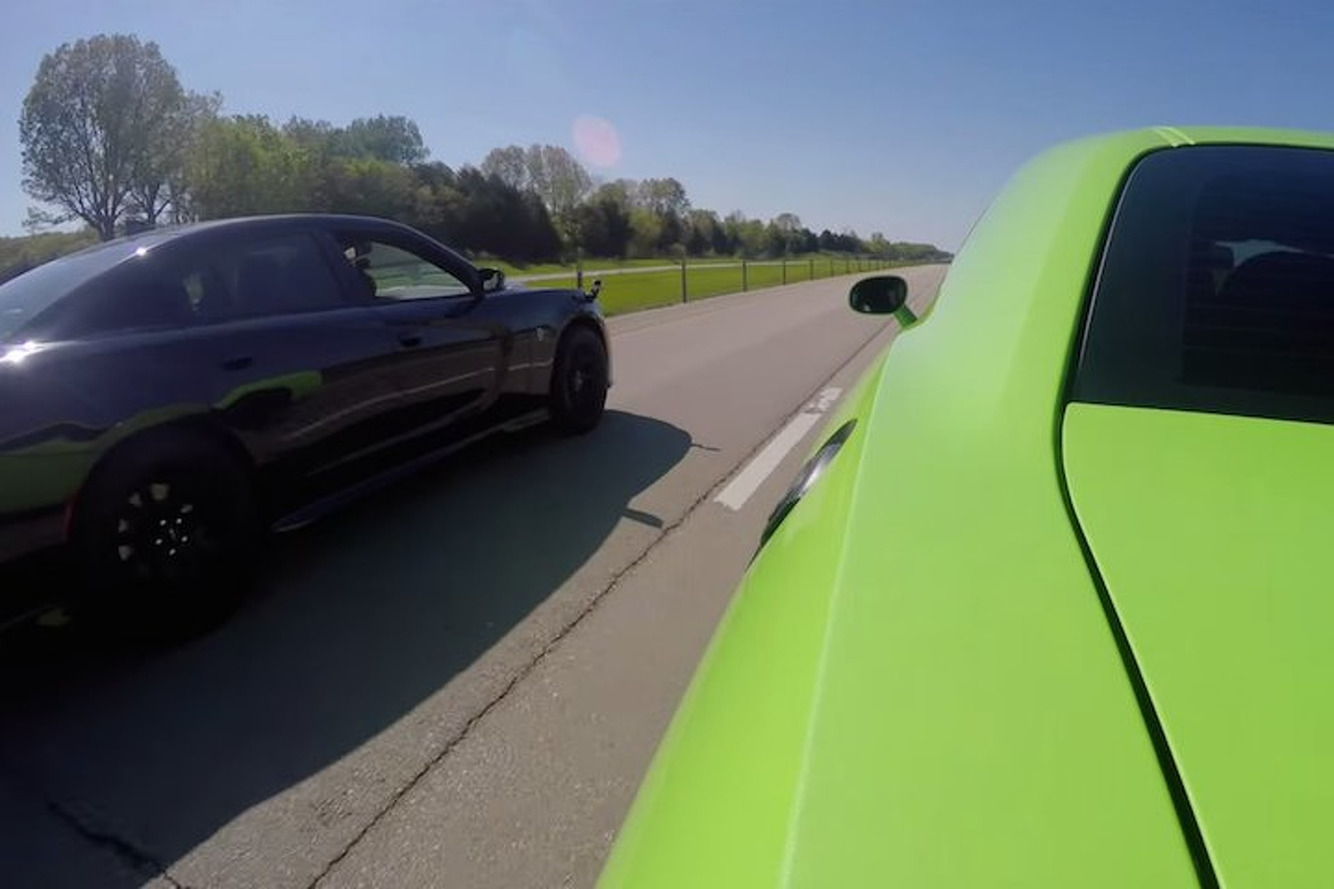 Watch a Dodge Challenger Hellcat and Charger Hellcat Drag Race