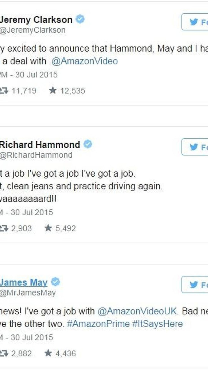 Clarkson, May, Hammond on Twitter