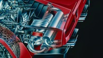 Lamborghini Countach cutaway drawing by David Kimble
