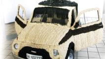 Fiat 500 covered in human hair