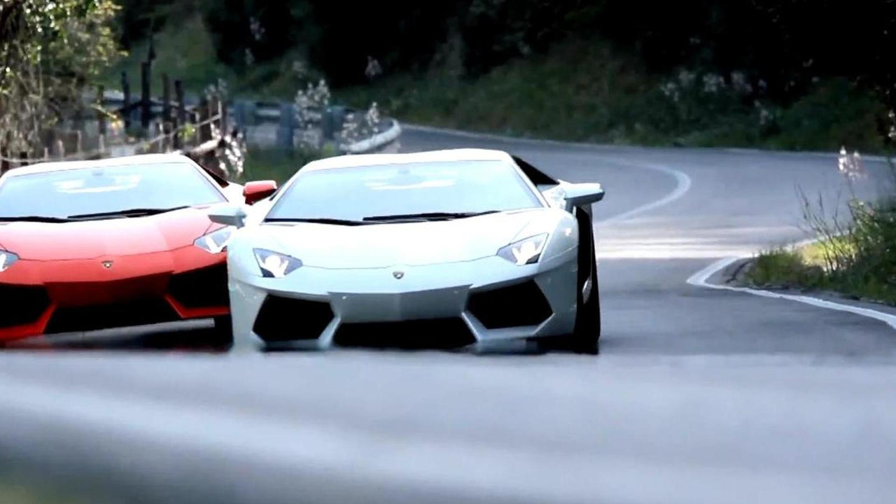 Still image from new Lamborghini Aventador promo video