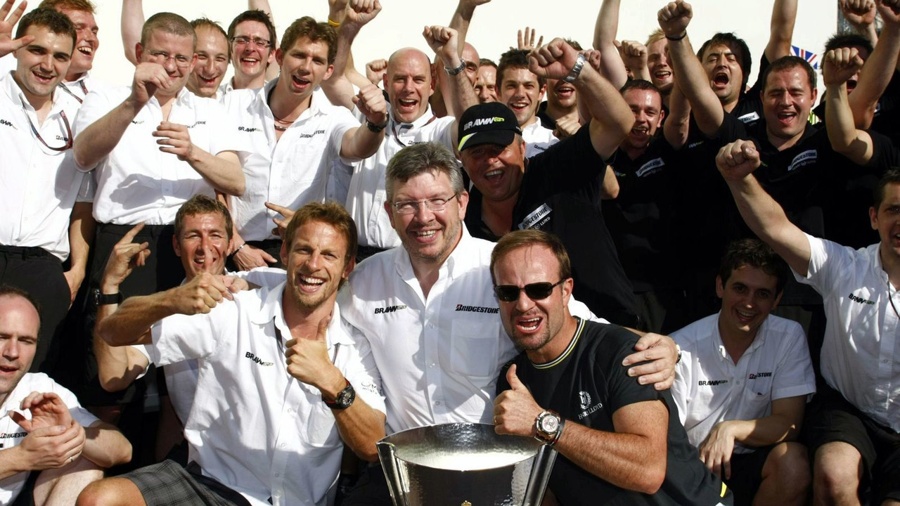 Team Brawn GP celebrations at Monaco grand prix 2009
