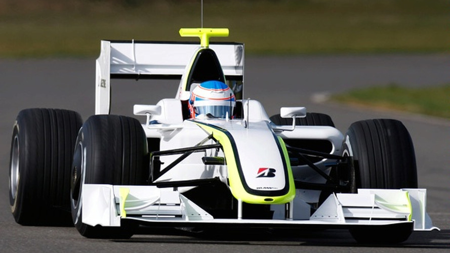 White *Brawn GP* car makes F1 track debut