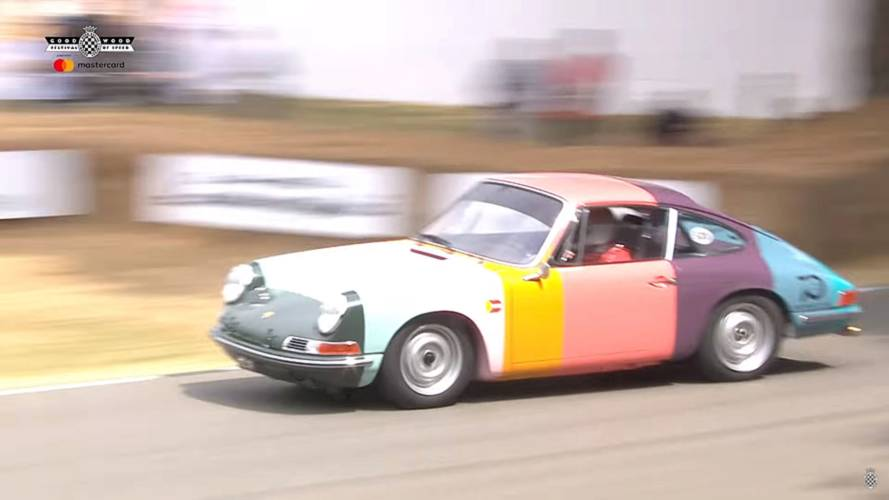 Rainbow-Colored Porsche 911 Goes Full-Attack On Goodwood Hill