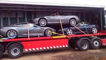 Trailer carrying 2x Aston Martin DB9 and a DBS