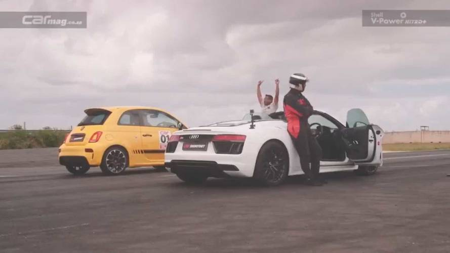 David Versus Goliath: Abarth 595 Drag Races Audi R8 Spyder