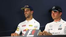 (L to R)- Daniel Ricciardo, Red Bull Racing and Nico Rosberg, Mercedes AMG F1 in the FIA Press Conference