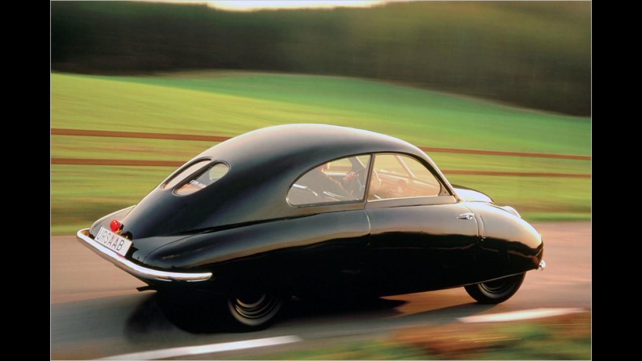 Die aerodynamische Form erinnerte an das andere Saab-Geschäftsfeld, den Flugzeugbau