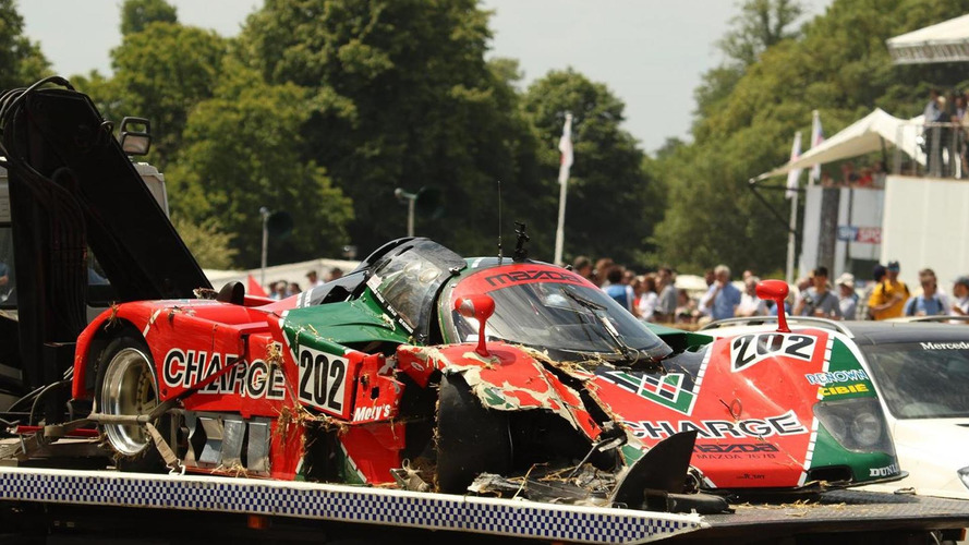 Mazda 767B race car crashed at Goodwood