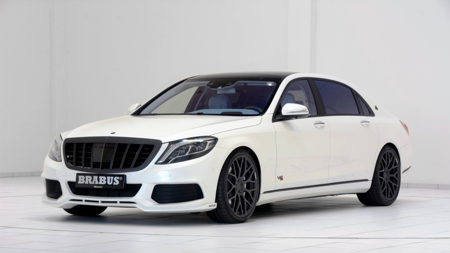 900 HP Brabus Maybach S600 shown in white with blue leather