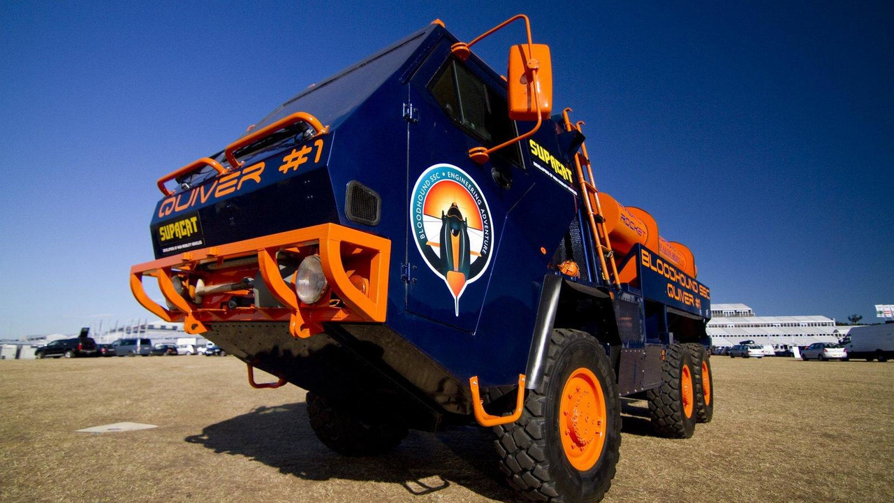 Bloodhound SSC support vehicle by Supacat carrying spare rockets at Farnborough on 19.07.2010