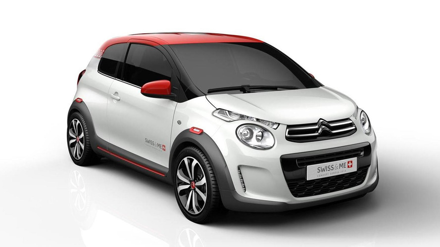 Citroen C1 Swiss & Me concept wearing Swiss flag heading to Geneva