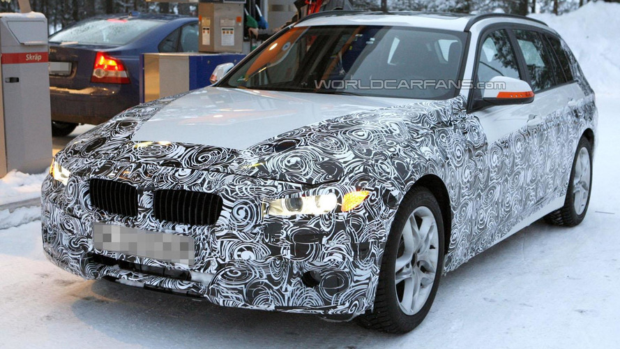 2013 BMW 3-Series Touring spied making a pit stop