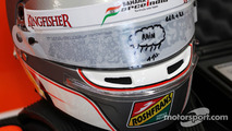 The helmet of Daniel Juncadella, Sahara Force India F1 Team Test and Reserve Driver with rain visor