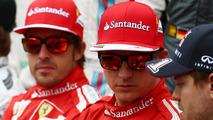 Fernando Alonso (ESP) with Kimi Raikkonen (FIN) at the drivers start of season photograph, 16.03.2014, Australian Grand Prix, Albert Park, Melbourne / XPB