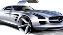 Mercedes-Benz SLS AMG Gullwing design sketch - hi res