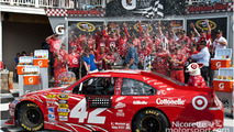 Victory lane: race winners celebrate