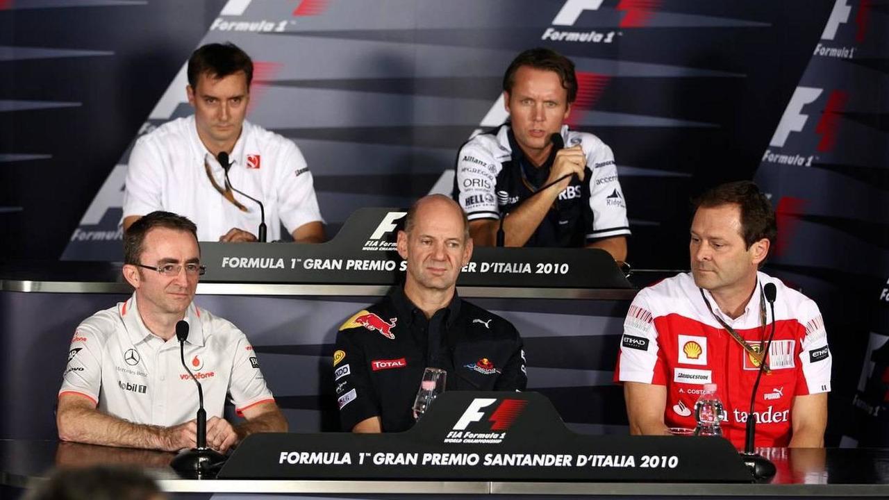 Paddy Lowe (GBR), James Key (GBR), Adrian Newey (GBR), Sam Michael (AUS), Aldo Costa (ITA), Italian Grand Prix, Press Conference, 10.09.2010 Monza, Italy