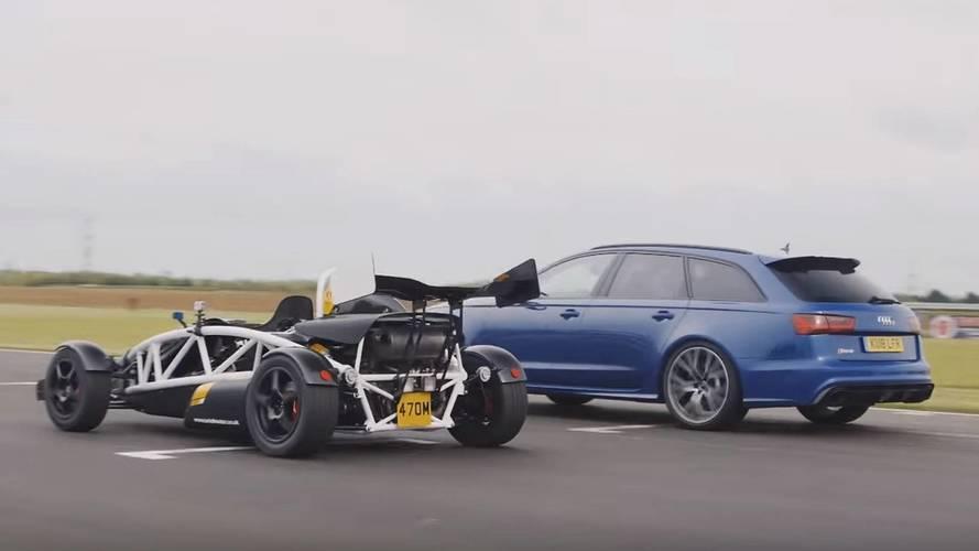 Audi RS6 Avant ile Ariel Atom'un drag yarışını izleyin