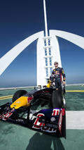 David Coultard performs F1 stunt at Burj Al Arab Helipad in Dubai 30.10.2013