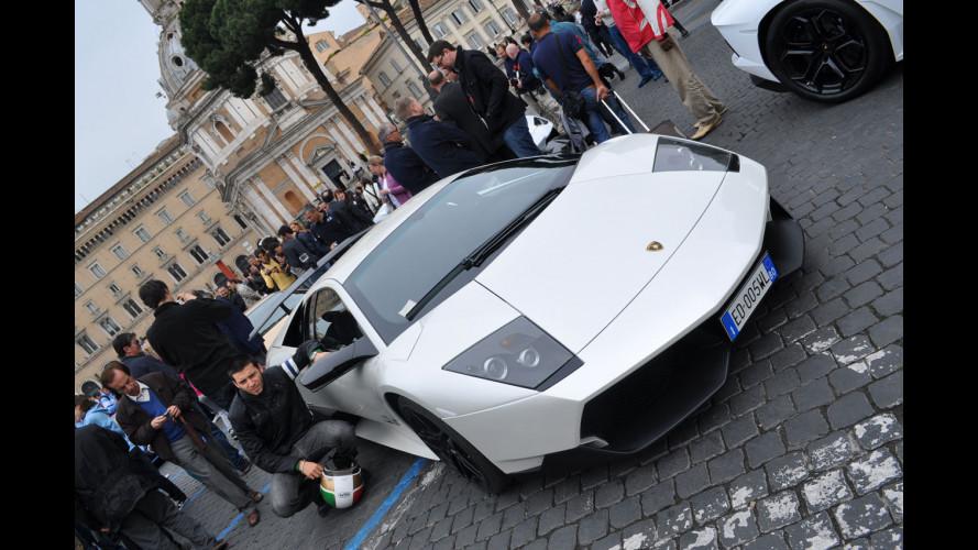 Lamborghini storiche a spasso per Roma