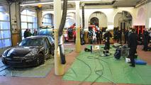 Porsche Panamera being cut apart from the fire brigade