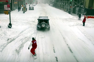 Watch YouTuber Casey Neistat Snowboard Through Snow-Covered NYC