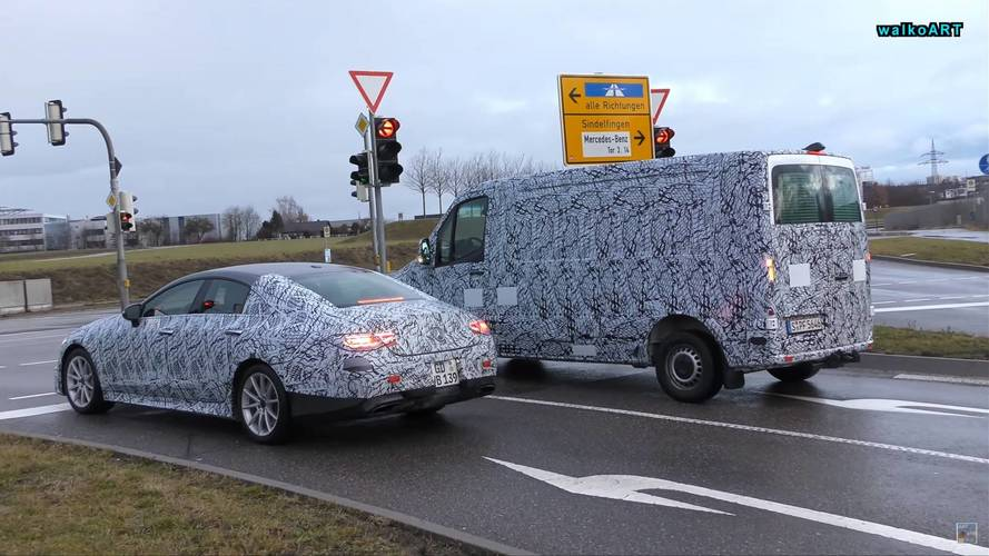 Mercedes-AMG CLS 53 And New Sprinter Spied Waiting At Red Light