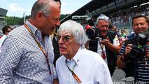 Ron Dennis, McLaren Executive Chairman with Bernie Ecclestone, on the grid