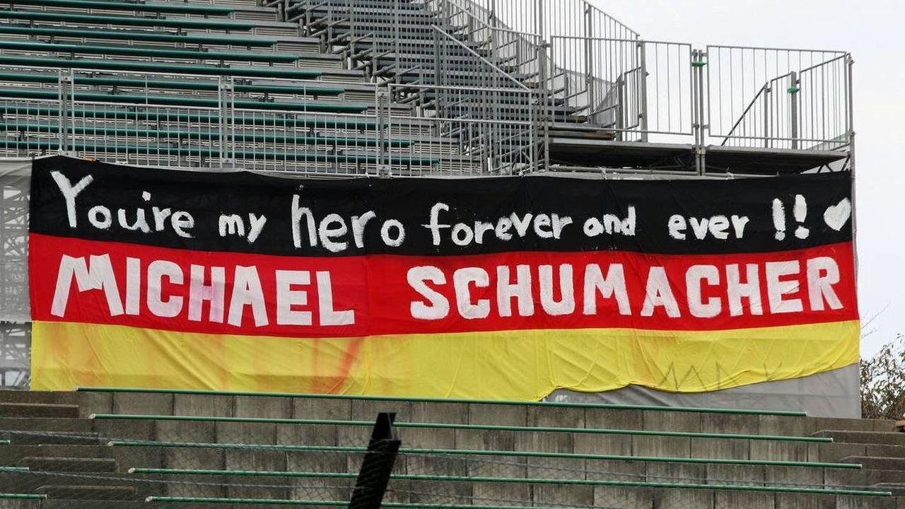 A banner for Michael Schumacher (GER), Test Driver, Scuderia Ferrari, Japanese Grand Prix, Thursday, 01.10.2009 Suzuka, Japan