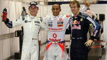 Nico Rosberg (GER), Lewis Hamilton (GBR), Sebastian Vettel (GER), Singapore Grand Prix, Saturday Qualifying, 26.09.2009