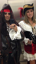 Felipe Massa and Raffaela Bassi dressed like pirates