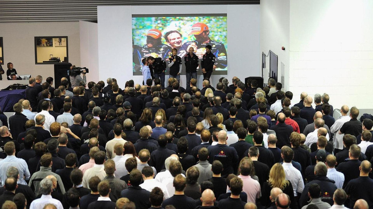 Red Bull driver and Formula One World Champion Sebastian Vettel acknowledges the staff at Red Bull Headquarters on November 16, 2010 in Milton Keynes, England