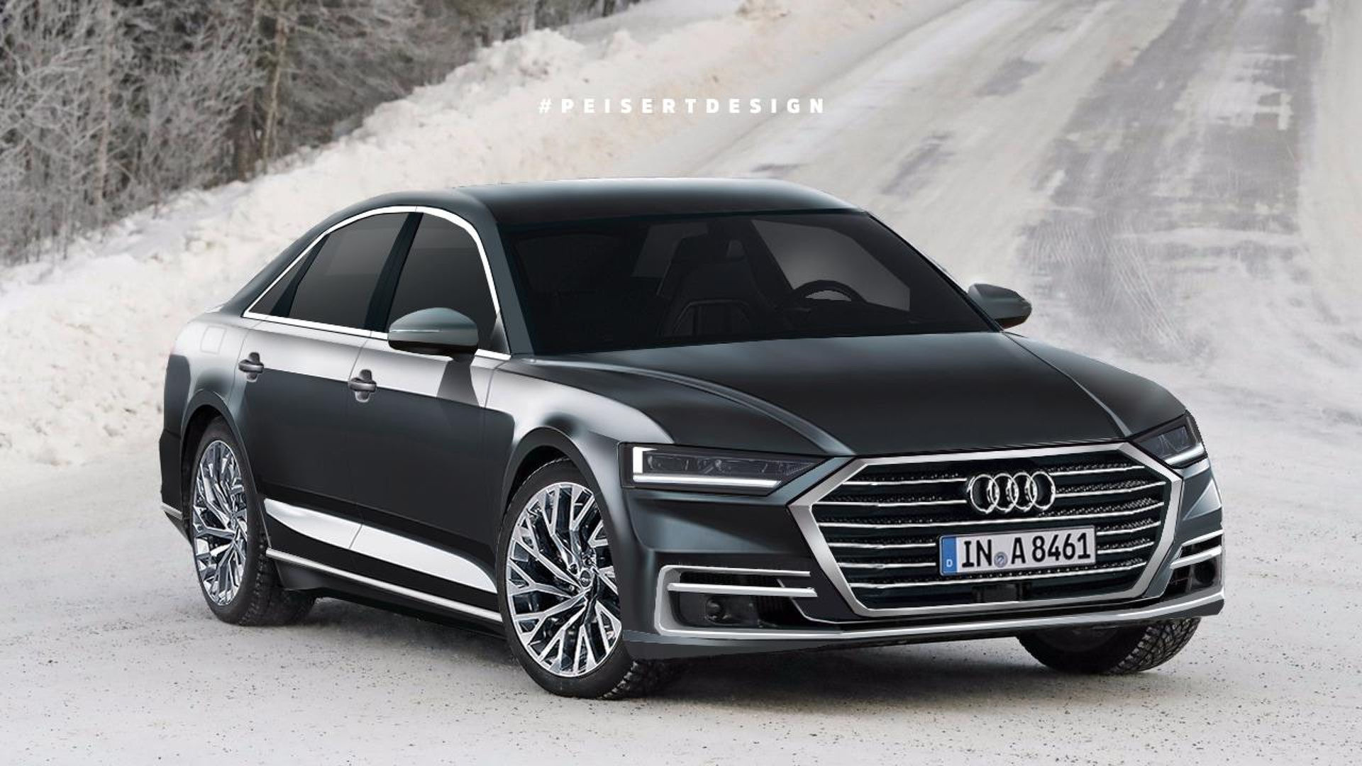2018 audi a8 rendering previews a sharp looking luxury sedan. Black Bedroom Furniture Sets. Home Design Ideas