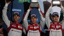 Podium- second place Lucas di Grassi, Loic Duval, Oliver Jarvis, Audi Sport Team Joest