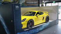 Porsche Cayman GT4 displayed as full-size toy car