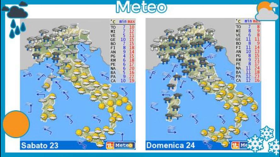 Meteo del fine settimana 23-24 marzo: maltempo al Nord, sole al Sud