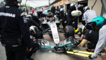 Mercedes AMG F1 practices a pit stop
