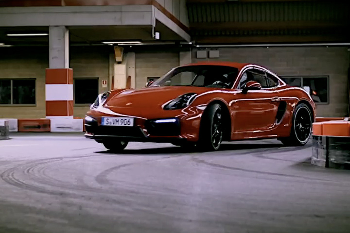 Porsche Cayman GTS Drifts Around a Go-Kart Track Like a Boss [Video]
