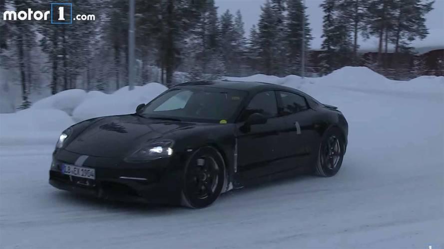 Porsche Mission E, karlı yollarda test sürüşünde