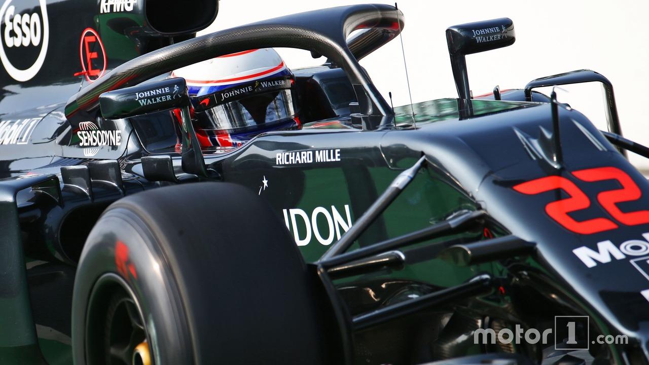 Jenson Button, McLaren MP4-31 with the Halo cockpit cover