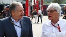 (L to R): Jean Todt, FIA President with Bernie Ecclestone,